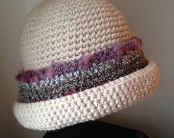 Downton Abbey hat, crochet hat, crochet Downton Abbey, ladies' medium/large, off-white Downton Abbey hat crochet, winter Downton Abbey hat