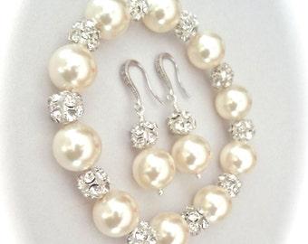 Pearl bracelet and earring set - Chunky - Crystal Rhinestones - Elegant - Brides set - Bridal jewelry - Bridesmaids -Best seller - LOLITA