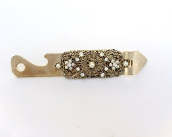 Jeweled can opener vintage Vaughan USA 55 beer bottles opener with  pearls and rhinestones
