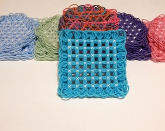 Vintage Inspired Square Yarn Trivet, 6 Inches, Variety of Color Options