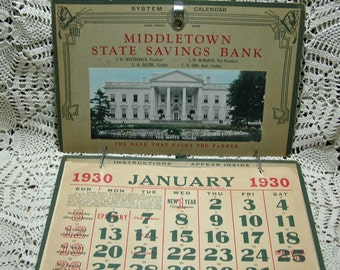1930 Large Middletown State Savings Bank Calendar Iowa Des Moines County Complete