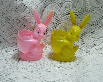 2 Vintage Easter Rabbit Candy Holders Pink and Yellow