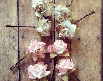 Spring Flower Hair Pins, Floral Hair Clip, Bridesmaids. Bridal, Whimsical, Summer, Spring, Weddings, Bridal, Hair Accessories, Floral