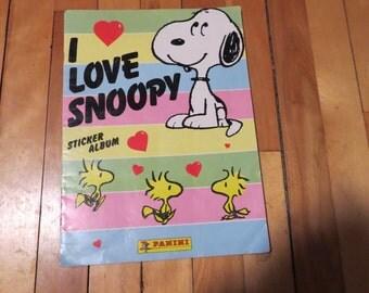 Vintage I Love Snoopy Sticker Album / Vintage 1980s Sticker Album / Vintage Snoopy Collectible / Snoopy and Peanuts Collectible / Panini