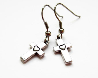 Silver Cross Earrings, Crucifix Earrings, Hypoallergenic, Surgical Stainless Steel Earrings, Nickel Free, Womens Gift