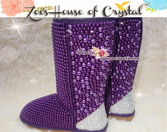 PROMOTION WINTER Bling and Sparkly Tall Purple Pearls SheepSkin Wool BOOTS w shinning Czech or Swarovski crystals