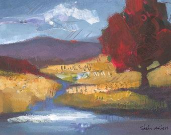 Red Tree  River Original Painting