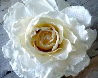 shabby chic flower white rose hair clip