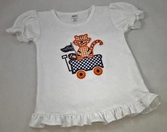 Appliqued Tiger Wagon Shirt / Monogrammed Tiger Applique Tee Shirt / Tiger Childrens Clothing / War Eagle Game Day Spirit Tee