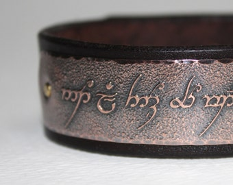 Tengwar, Elvish - Not all those who wander are lost  - Mens leather bracelet