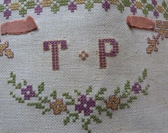 Antique French 1800s needlepoint canvas chair seat footstool cover monogram TP embroidery w roses hand embroidered needlework art w valances