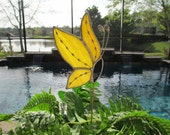 Yellow Swirl Opalescent Stained Glass Side View Butterfly -  Plant/Garden Stake with Decorative Soldering Accents - Twisted Wire Antenna