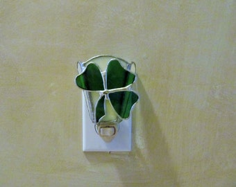 Emerald Green Shamrock Night Light - Handcrafted Authentic Stained Glass -  Fan Design