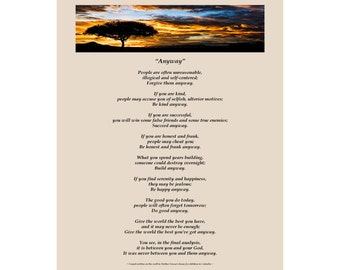 Poster of Mother Teresa's Anyway Poem - Available Sizes (8x10) (11x14) (16x20) (18x24)