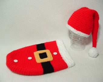 Adorable Soft Santa Baby Outfit Soft Perfect for Photo Prop ---- READY TO SHIP ( 0 - 3 m ) ----