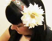 Ivory Dahlia & Brocade Ribbon Headdress / Tribal / Art Nouveau / Belle Epoque