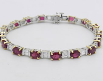 2.00 ct Diamond and 9.95 ct Red Ruby Tennis Bracelet 18K White and Yellow Gold