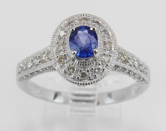 REDUCED 1.22 Diamond and Sapphire Halo Engagement Ring 14K White Gold Blue Oval 8.25
