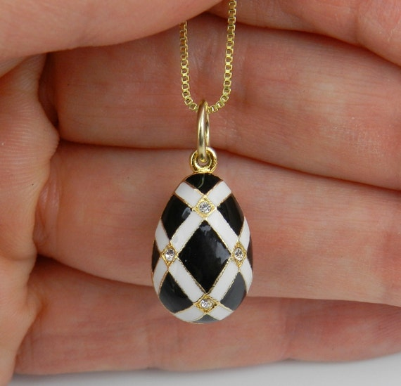 """18K Yellow Gold over Sterling Silver Black and White Enamel Swarovski Crystal Pendant with Chain 20"""" Faberge Style Egg"""