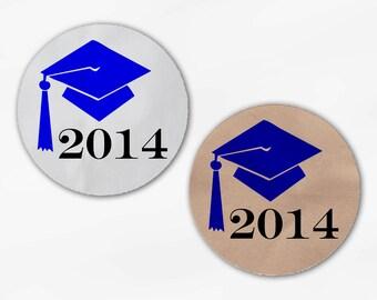 2017 Graduation Cap Favor Stickers - Royal Blue Custom White Or Kraft Round Labels for Bag Seals, Envelopes, Mason Jars (2012)