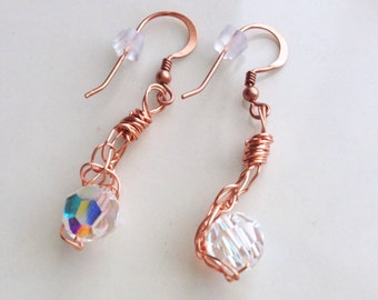 Copper Crystal Ball Earrings 8mm Crystal AB Swarovski Crystals Wire Wrapped Rose Gold