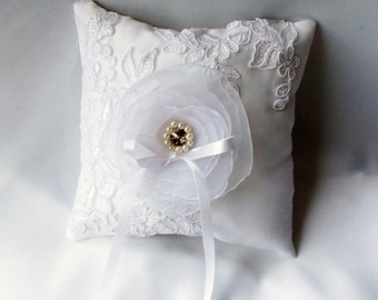 Ring Pillow,Ring Bearer Pillow, Wedding Ring Cushion, White Satin and Lace with Organza Flower