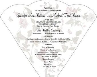 SET OF 25+ Romantic Vintage Bird Design Wedding Fan custom colors available