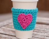 Valentine's Day Crochet Coffee Cup Cozy - Teal with Bright Pink Heart - Coffee Sleeve