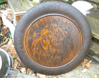 big incredible vintage antique 1910s 1920s wooden PYROGRAPHY FLEMISH art LION tray or wall plaque