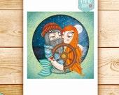 Digital illustration print - The sailor and the mermaid love