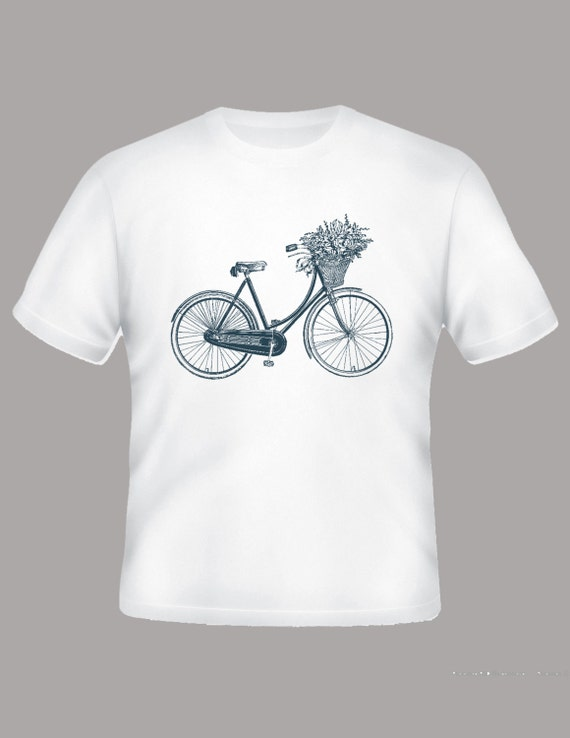 Vintage Bicycle Image with Flower Basket on Adult TShirt, Sizes S-3XL