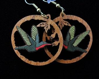 Hummingbird Green and Red Wood Inlay Earrings, Miniature Marquetry, Dangle Wood Earrings