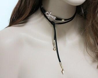Ankh Lariat Necklace, Black Suede Gold Sideways Ankh Choker, Upper Arm Bracelet, Spiritual Everyday Jewelry