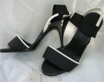 Black and White ~ Plastic Heels ~ Wide Band Elastic Ankle Strap ~ Chic ~ Open Toe