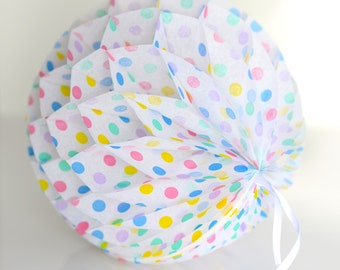 Pastel polka dot paper honeycomb ball - various sizes - Wedding party decorations-baby bridal shower