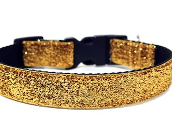 "Gold Dog Collar 1"" Gold Glitter Dog Collar"