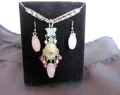 Avon Necklace and Earring Set / Avon Pink Stone and Butterfly Jewelry Set