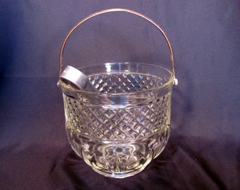 Clear Glass Ice Bucket from 1950's Includes Ice Tongs