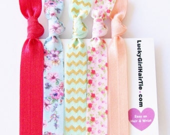 Garden Party Hair Tie Set ponytail holder elastics hair band hair ties party favor bridal shower baby shower chevron elastic
