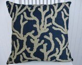 Dark Blue Embroidered Pillow Cover-- 18x18 or 20x20 or 22x22 Embroidered Decorative Chenille Throw Pillow