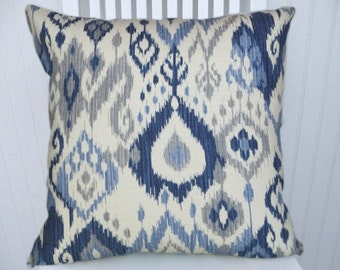 Blue Grey Ikat  Pillow Cover-18x18 or-20x20 or 22x22--Duralee Decorative Accent Pillow- Blue Grey