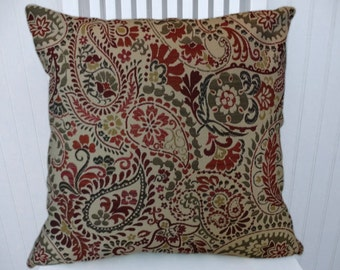 Red Green Paisley Pillow Cover Decorative Pillow Cover 18x18 or 20x20 or 22x22- Throw Pillow- Accent Pillow Cover.