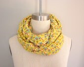 Knit/Jersey Infinity Scarf Cowl Recycled Yellow Lime Turquoise White Orange Heart Print Fabric Ready-to-Ship