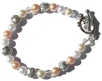 Ivory Pink and White Swarovski Pearl Bracelet, Pearl Anklet, Beach Wedding Jewelry, Sand Dollar Bracelet, Flower Girl Gift, Bridesmaid Gift