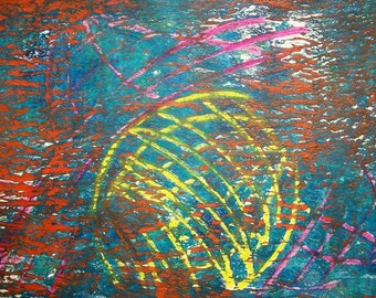 Nestled Lines 2/2 Original Monoprint Contemporary Abstract Acrylic Painting 5x7Yellow Blue Turqoise Orange Pink