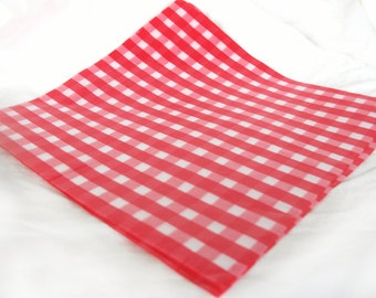 12 Red Gingham WAX PAPER sheets-Pink Lemonade party shop EXCLUSIVE-basket liners-food safe