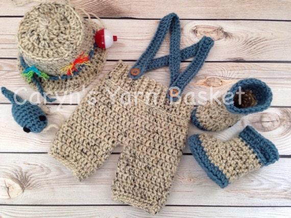 CROCHET KIT w/Pattern Baby Fishing/Fisherman Set Fishing