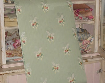 1930s Vintage Wallpaper Tiny Bouquets and Bows Jadeite Background Journals Crafts Furniture Yardage