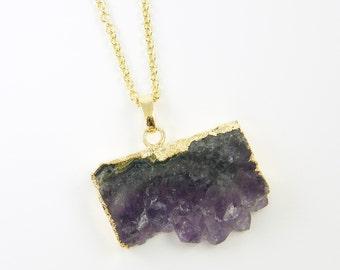 Amethyst Slice Necklace, Geode Pendant Necklace, Raw Amethyst Necklace, Purple Lavender Layered Semiprecious Gemstone Jewelry