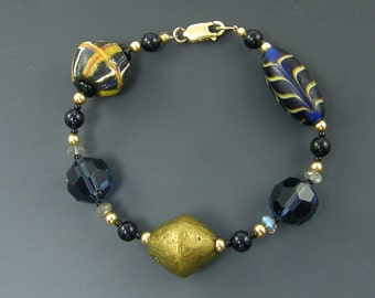 Chunky Bracelet Blue Bronze Gold Tribal African Trade Bead Crystal Labradorite Glass Bead Bold Ethnic Statement Jewelry